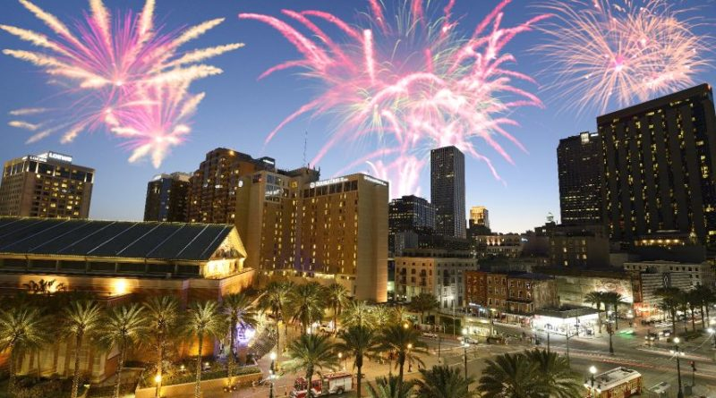 New Orleans fireworks, Canal Street, Louisiana, USA.