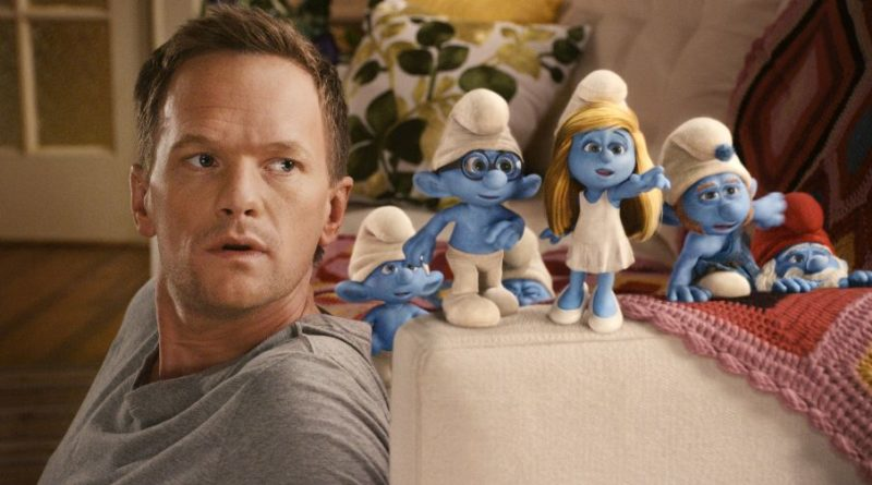 "Neil Patrick Harris as ""Patrick"" with Clumsy, Briany, Smurfette, Gutsy and Papa Smurf in Columbia Pictures' THE SMURFS. Štrumfovi,"