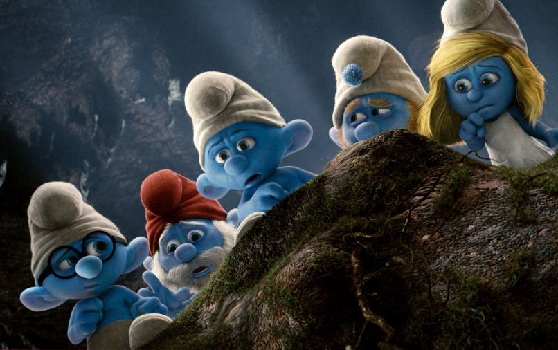 Brainy, Papa, Grouchy, Gutsy and Smurfette in Columbia Pictures' THE SMURFS.