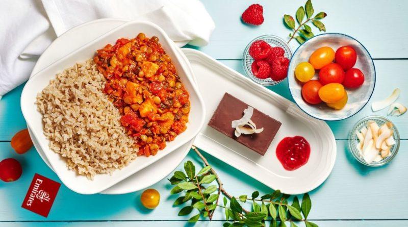 poslovna klasa, emirates, vege, veganski obrok